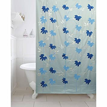 Kuber Industries SkyBlue Floral Design PVC Premium Shower Curtain