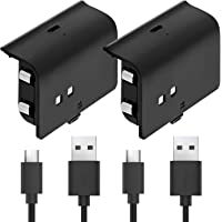 Fosmon Play and Charge Rechargeable Battery Pack Compatible with Xbox One S X Elite Controller (2 Pack), with Micro USB…