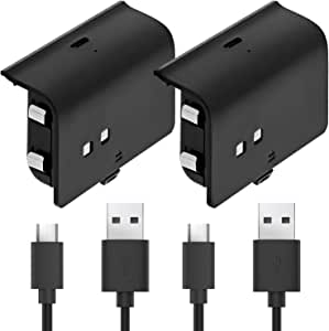 Fosmon Play and Charge Rechargeable Battery Pack Compatible with Xbox One S X Elite Controller (2 Pack), with Micro USB Cable Works with Fosmon Dock C-10659 / C-10709 / C-10738 / C-10751 - Black