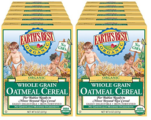 61MtawnmshL - Earth's Best Organic Infant Cereal, Whole Grain Oatmeal, 8 Oz. Box (Pack Of 12)