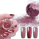 Vrenmol 2pcs 0.2g Rose Gold Mirror Nail Glitter Powder Shining Manicure Chrome Pigment Ultra Thin Glitter Dust Set