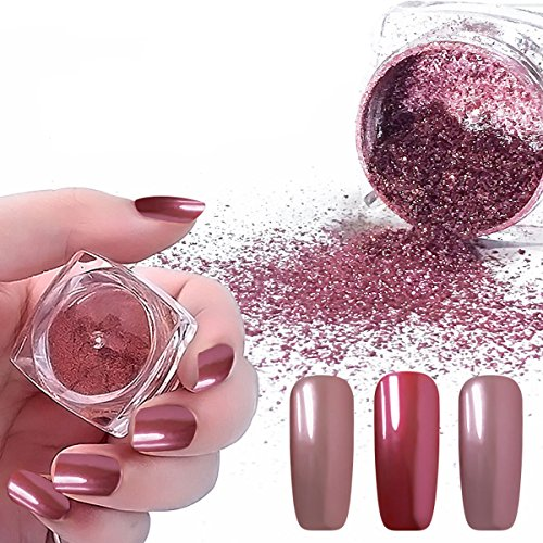 Vrenmol 2pcs 0.2g Rose Gold Mirror Nail Glitter Powder Shining Manicure Chrome Pigment Ultra Thin Glitter Dust Set