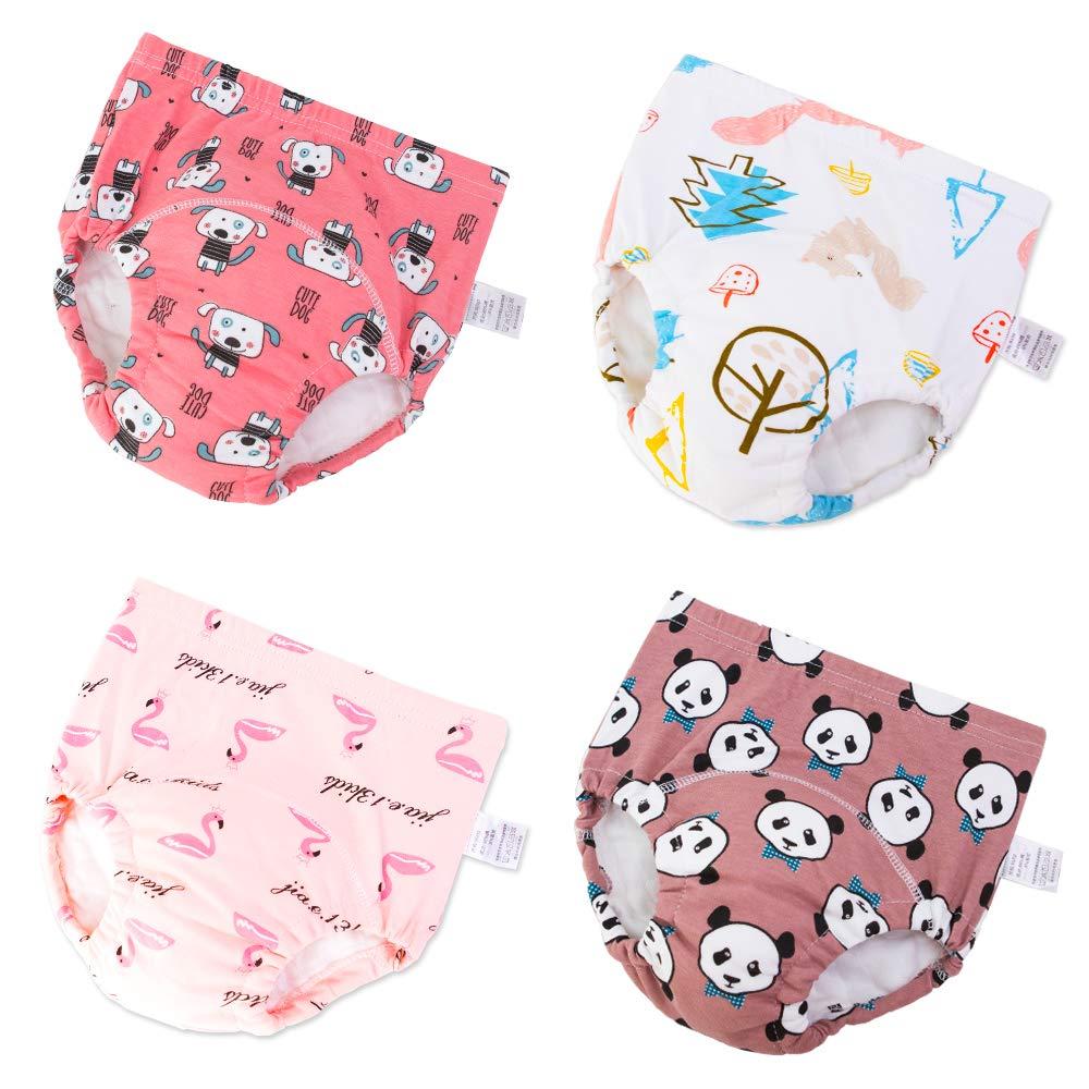 U0U Baby Boys Girls Cotton Training Pants Toddler Kids Potty Training Underwear 4 Pack