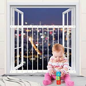 Hooen Child Window Guards for Children Window Safety Guards for Pet Kids Baby Proof Extra Wide White Window Gate Metal Security Window Bars for Sliding Windows,Fit Size:31.50
