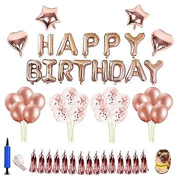 Parsion Decoración de cumpleaños Oro Rosa, Feliz cumpleaños ...