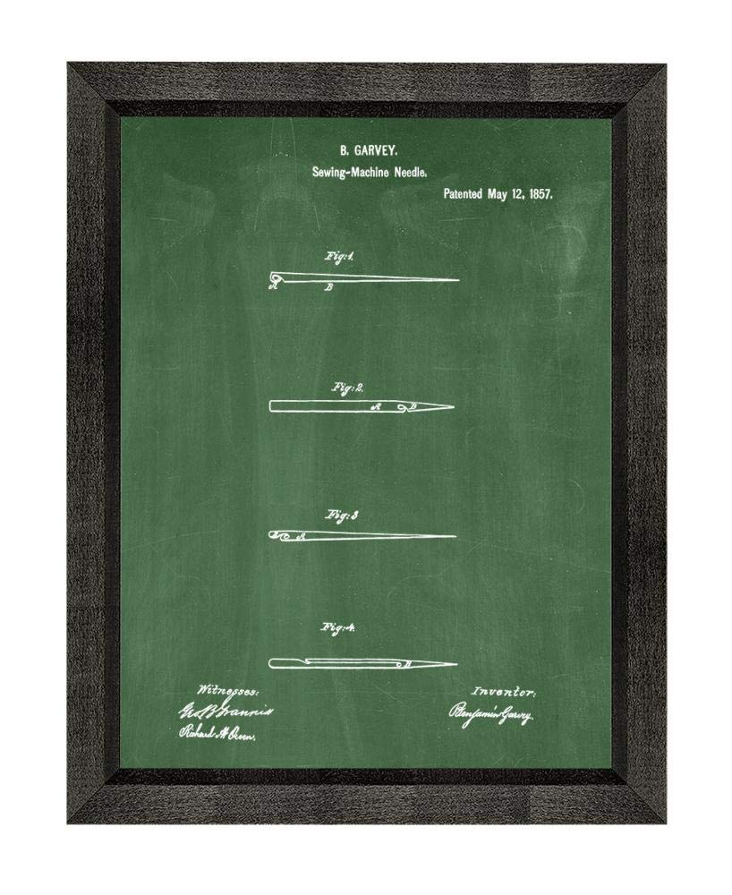 Sewing Needle Patent Art Green Chalkboard Print in a Beveled Black Wood Frame (20'' x 24'') M15827 by Frame a Patent (Image #1)