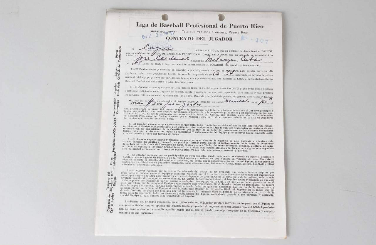 Jose Cardenal Signed Contract Giants COA JSA Certified MLB Cut Signatures