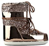 CAPE ROBBIN MB-11 Women Ankle High Ski Snow Winter Lace Up Glitter Moon Boots Rose Gold 7