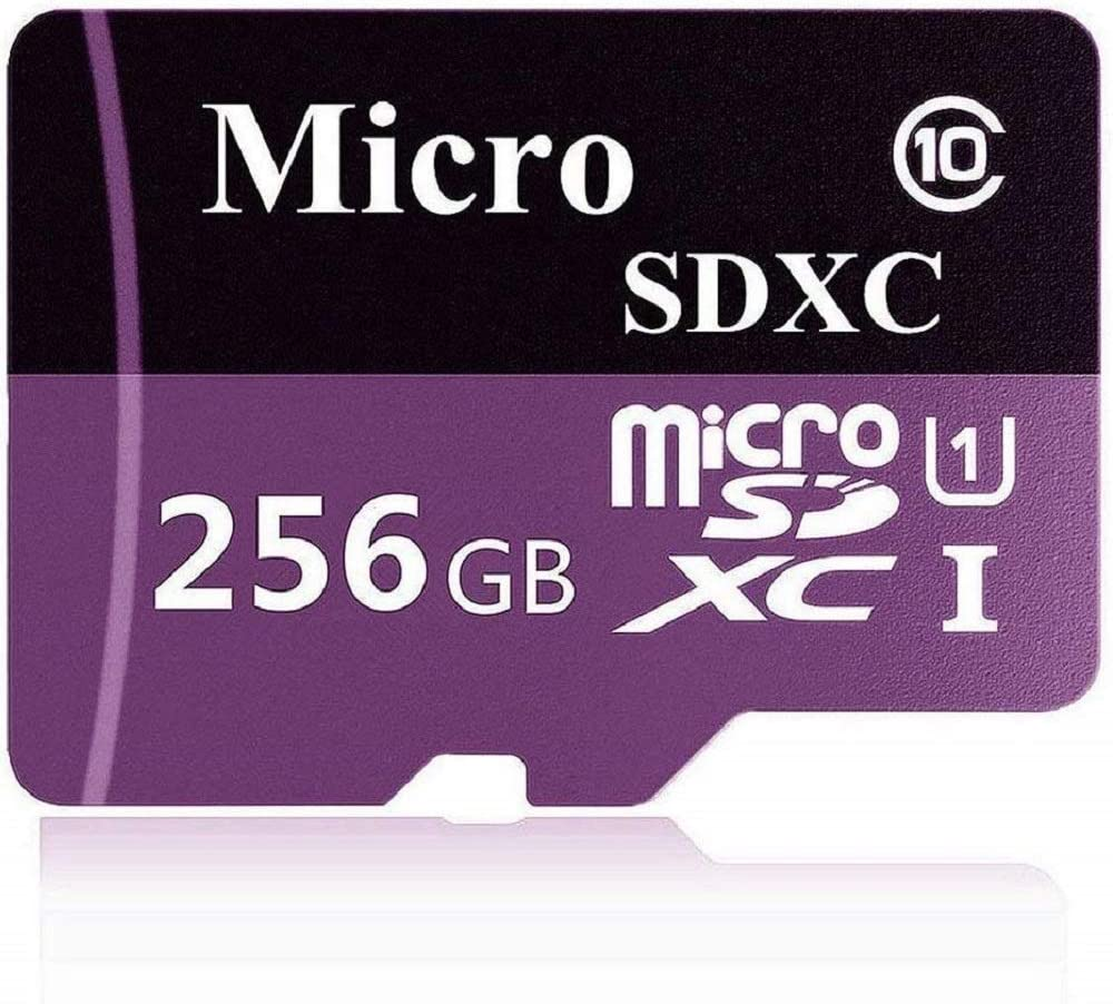 256GB Micro SD SDXC Card High Speed Class 10 Memory SD Card with SD Adapter