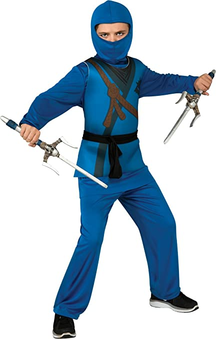 Ninja Childs Costume, Blue, Large