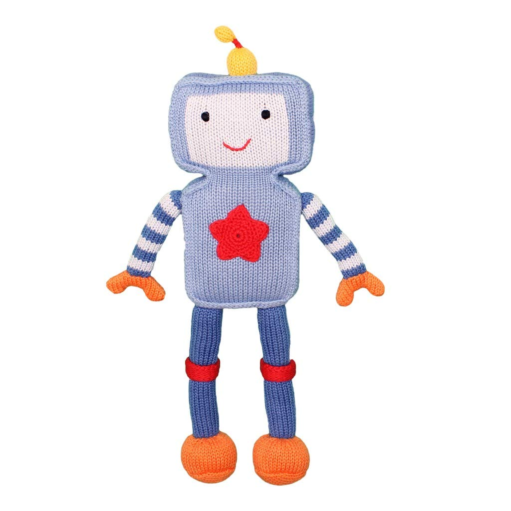 Zubels Baby Riley The Robot Hand-Knit Plush Doll Toy, All-Natural Fibers, Eco-Friendly, 100% Cotton, 14-Inch by Zubels