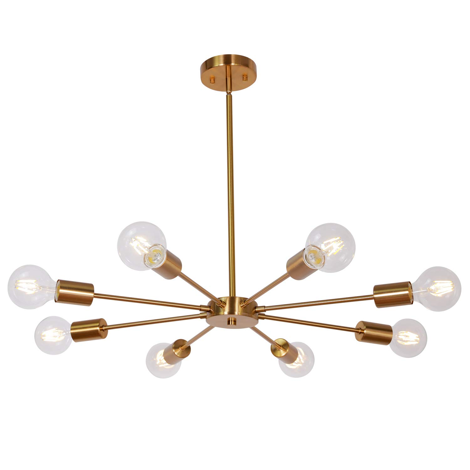 Sputnik Chandelier Brass 8 Lights, Semi Flush Mount Ceiling Light Mid Century Modern Pendant Light for Foyer Dining Room Bedroom Restaurant UL Listed by MELUCEE