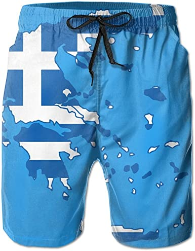 Greek Flag Mens Lightweight Swimwear Board Short