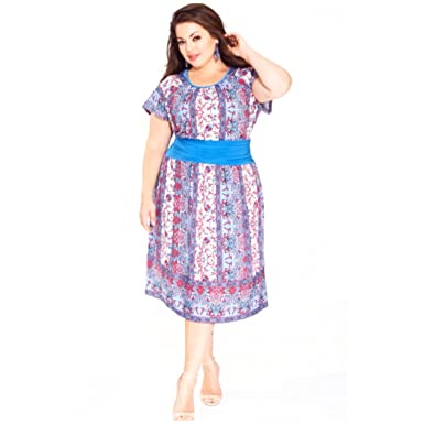 fe0cfa16b2 Image Unavailable. Image not available for. Color  IGIGI by Yuliya Raquel  Womens Riley Dress Blue 18 20