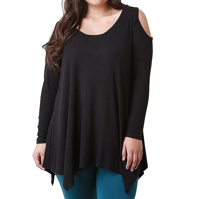 SHOBDW Blusas de Mujeres Solid Color Camisetas de tallas grandes Camisas la atractiva ocasional de suelto Manga larga de blusas: Amazon.es: Ropa y ...