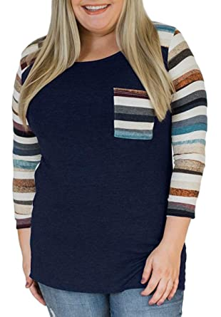 a25503aceb65b2 Delcoce Womens Plus Shirts Long Sleeve Stripe Tops T Shirt Casual Tunic  Navy XL