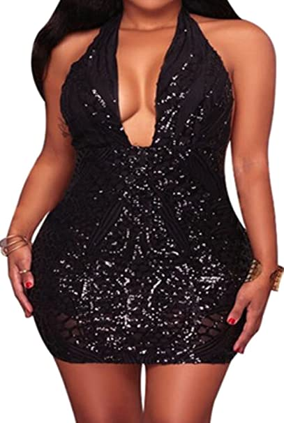 8450c783ac Lutratocro Womens Package Hip Shiny Sequin Clubs Halter Party Deep Plunge  Mini Dress Black X-