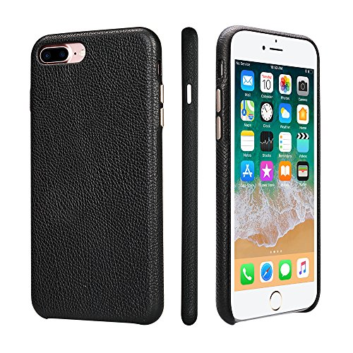 iPhone 7 Plus Case Genuine Leather/iPhone Cover 7 Plus TOOVREN Slim Anti-Scratch Microfiber Lining Wirelessly Charger Hard Back Cover for Apple iPhone 7 Plus 2016 5.5'' Black