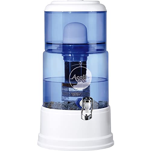 AcalaQuell SMART Water Filter System | White | with Glass Tank | Blue. Crystal Glass Reservoir with a capacity of 8 litres. Best Natural Gravity Filtration Technology. *** Christmas Deal ***