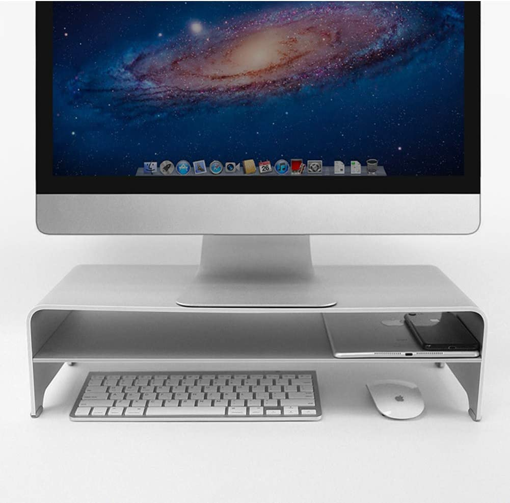 CLEAVE WAVES Laptop Stand Double Layer Monitor Stand Riser Aluminum Ventilated Stand Holder with Keyboard Storage for Computer Notebook,Sliver
