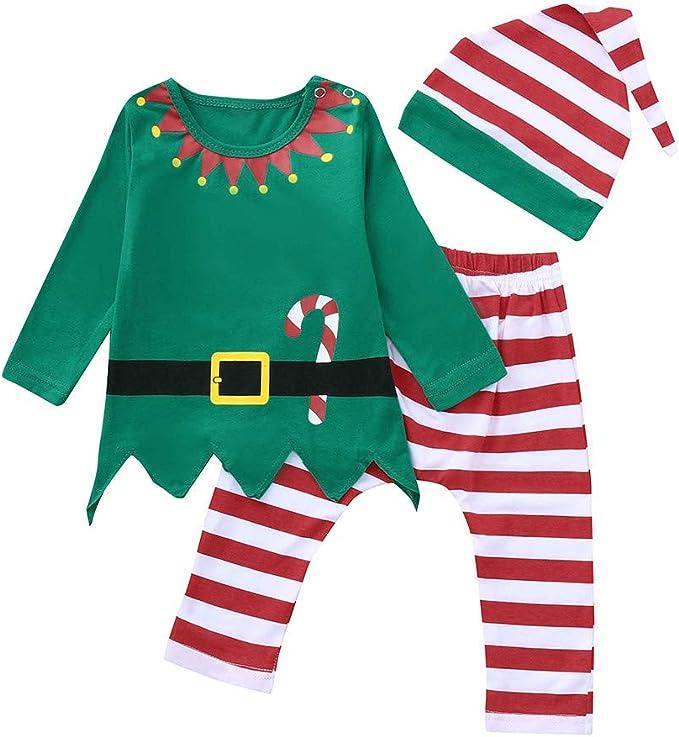 Navidad Conjunto Bebe Niña Niño Recien Nacido Elfo Tops + ...