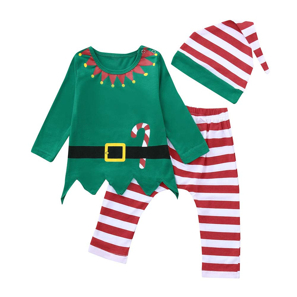 DIGOOD Toddler Baby Boys Girls Christmas Outfits Clothes,Cartoon Santa T-Shirt Tops+Striped Pants+Cap,for 0-24 Months Kids