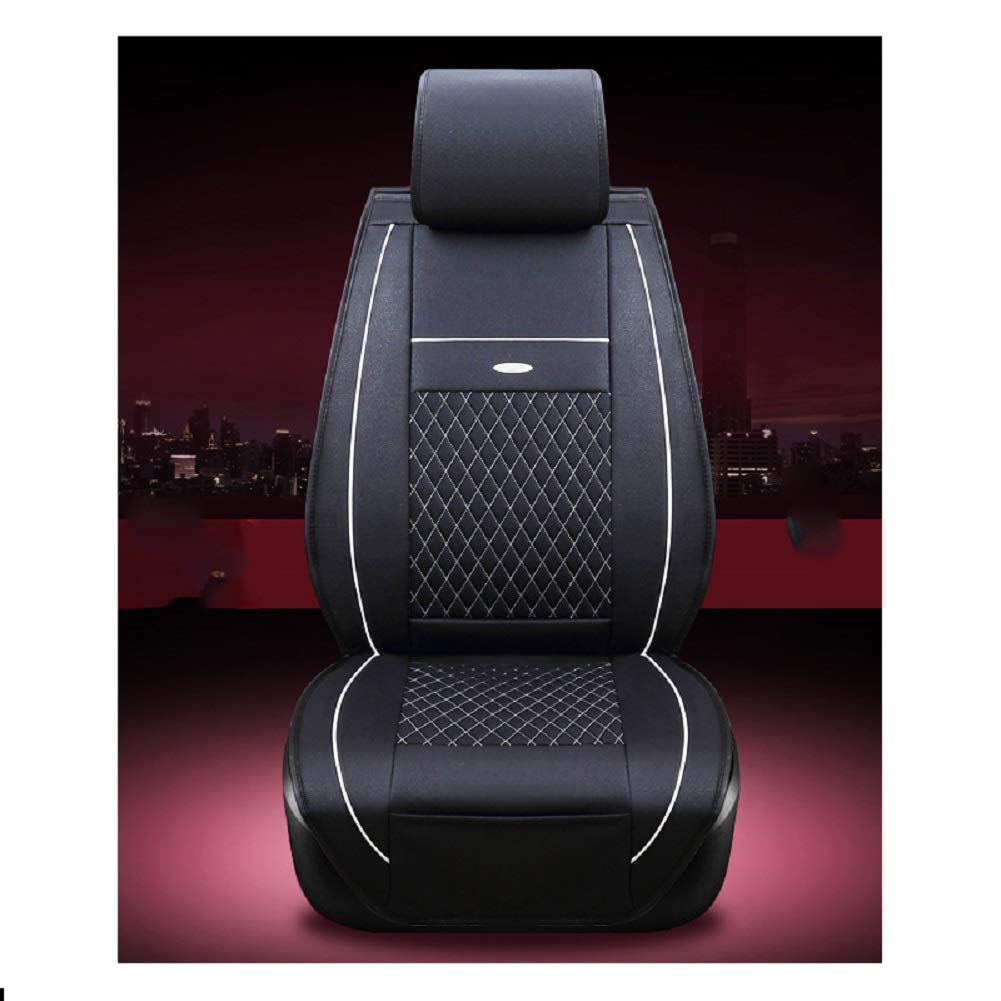JOJOHUN Car Front Seat Covers Nonslip and Breathable Van Seat Covers Only Fit for Detachable Headrest Black Red - 1 seat in front seat