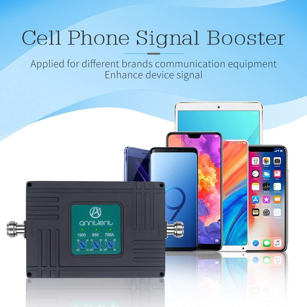 Cell Phone Signal Booster for AT/&T T-Mobile GSM 3G 4G LTE Boost Mobile Phone Signal for Home and Office Tri-Band ATT700//850//1900MHz Band 2//5//12//17 Repeater kit with High Gain Panel//Yagi Antennas
