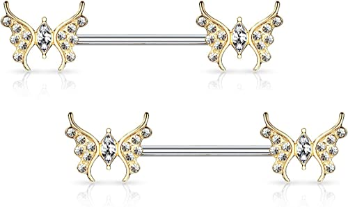 Pair of Lined CZ Set 14K Gold Plated Surgical Steel Nipple Bar Clicker Rings