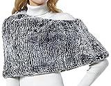 Nice Glory Women's 3-way Rex Rabbit Fur Hat and Neck warmer / Cowl Neck Scarf / Stole Grey Snow-top
