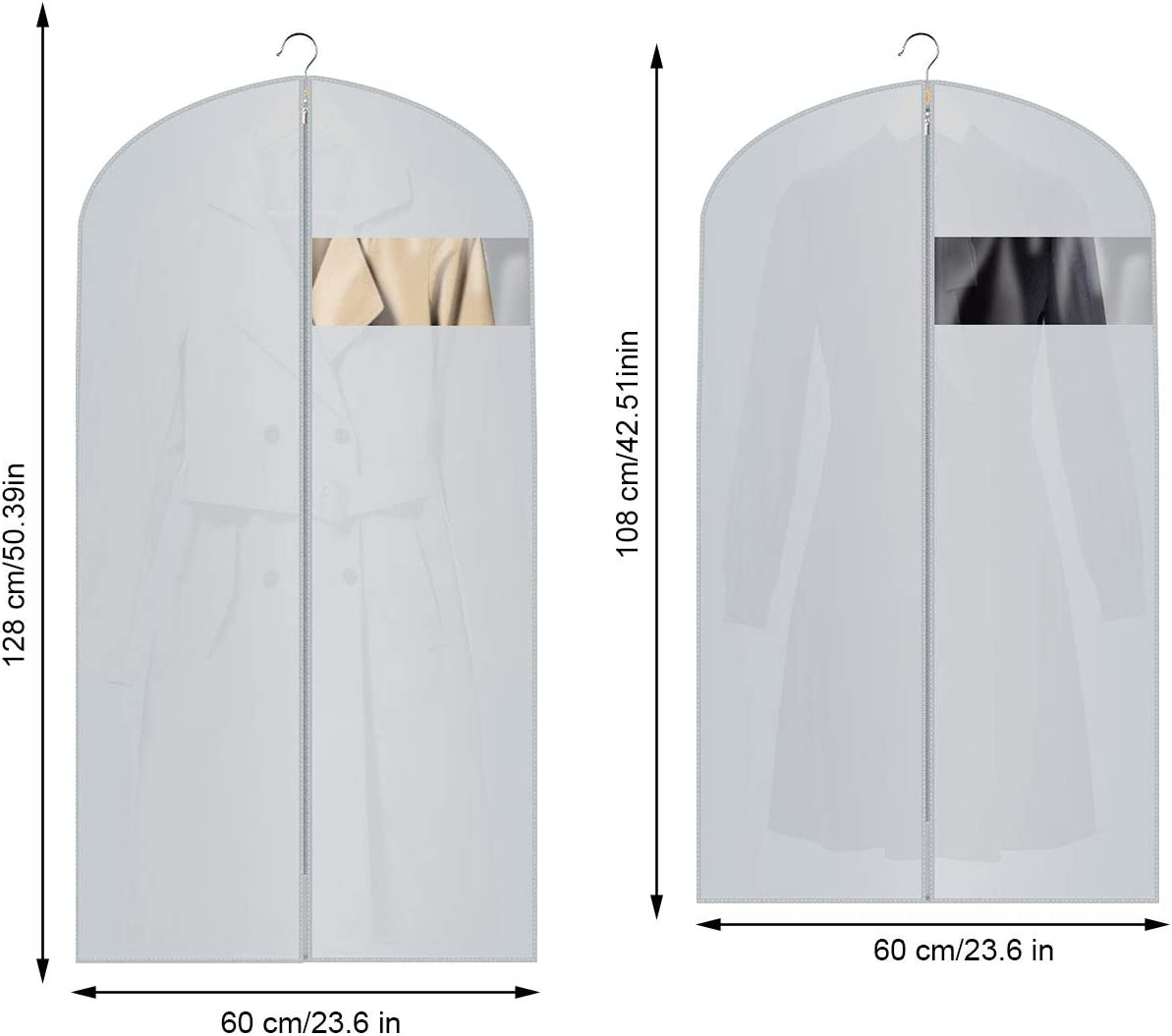 Fundas de Ropa,6Pcs Bolsas De Ropa Transparentes Impermeables Transpirables con Cremalleras,Vestido de Noche Vestido de Novia Abrigos Camisas Polilla Protecci/ón Repelente al Agua