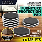 TOOGOU Furniture Sliders - Reusable Felt Pads for Easy Moving of Heavy Furniture - Great for Tables, Sofas, Beds, Dressers & Appliances on Hardwood/Ceramic/Tiled Floors & Carpeted Surfaces (Black)