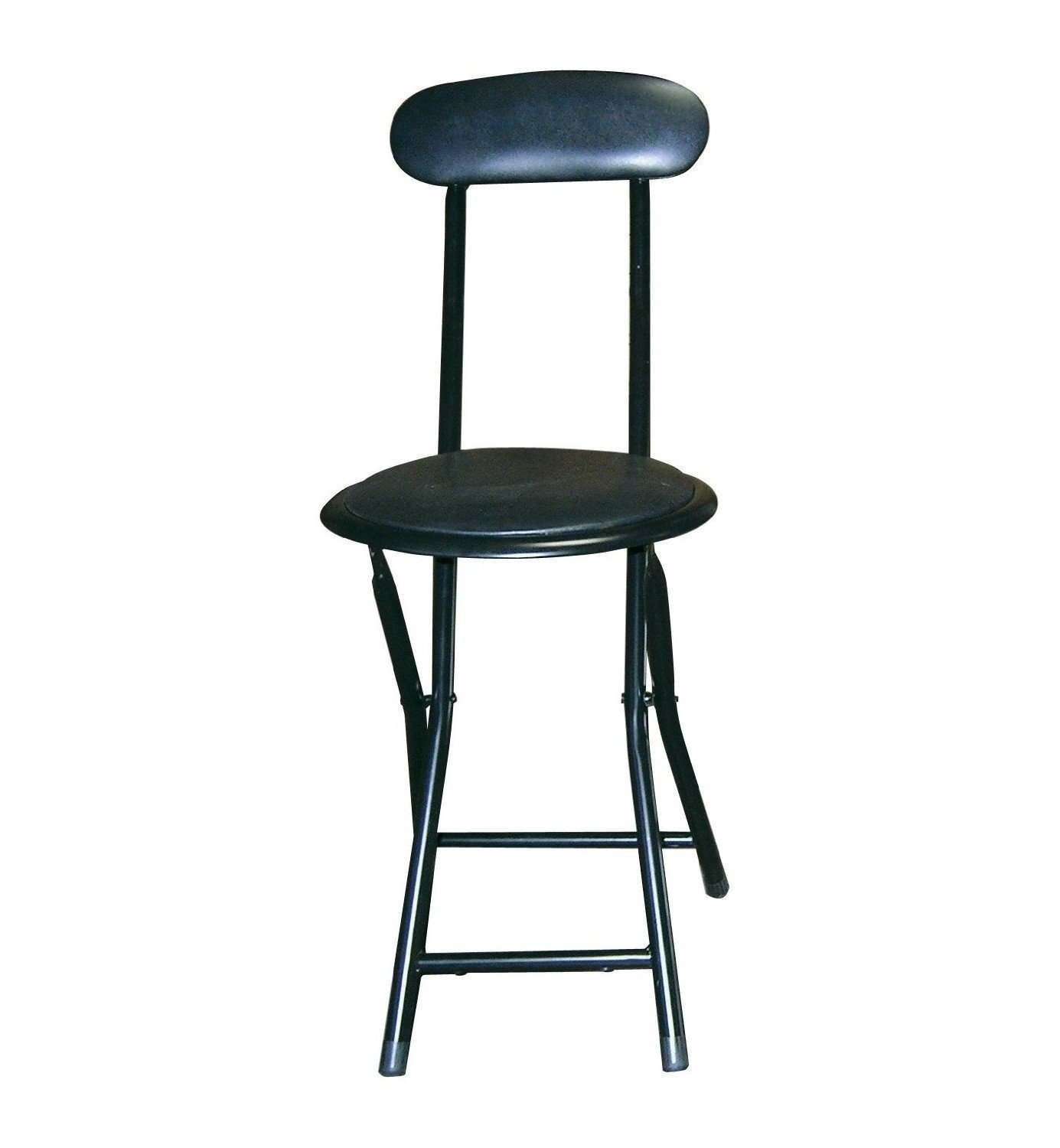 Above Edge 18'' Cushion Top Folding Stool with Back, 6 Piece, Black