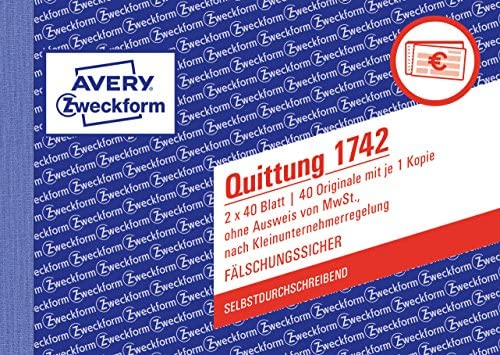 Avery Zweckform 1742 Quittung Kleinunternehmer A6 Quer