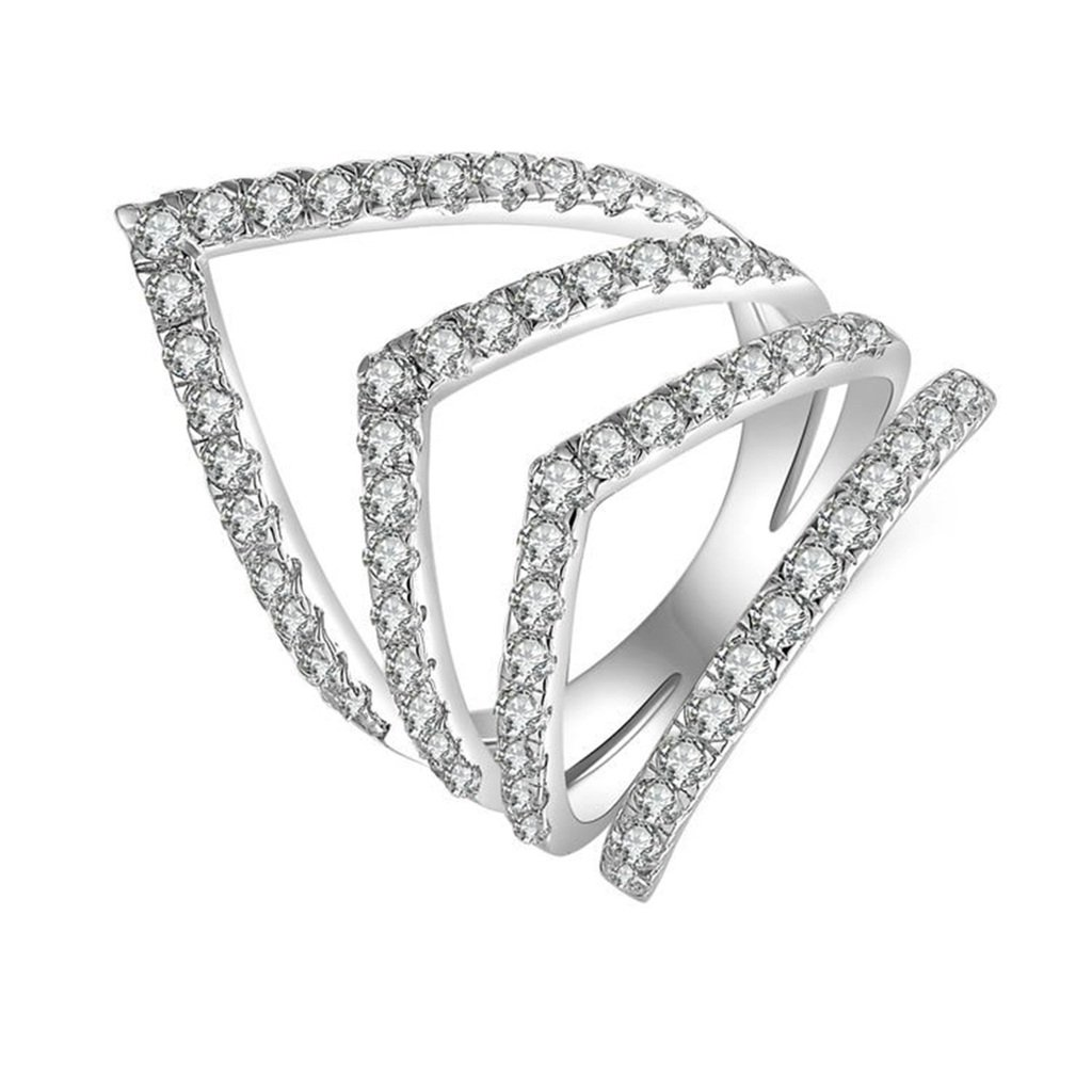AmDxD Jewelry Silver Plated Women Promise Customizable Rings Strip Heart CZ Size 7,Engraving