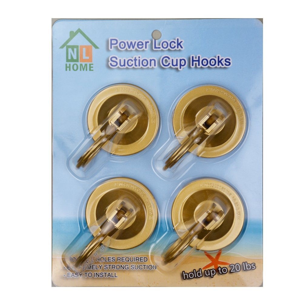 4-Pack Power Lock Suction Cup Hooks,Dark Gold,Chrome,by NL Home