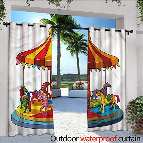 - warmfamily Kids Outdoor- Free Standing Outdoor Privacy Curtain Cartoon Carousel Horses Design for Front Porch Covered Patio Gazebo Dock Beach Home W108 x L96