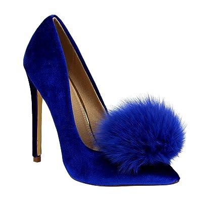 Liliana Affair Velvet Pointy Toe Stiletto High Heel Fur Pom Slip On Pump Slide Shoe | Pumps
