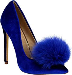 Liliana Affair Velvet Pointy Toe Stiletto High Heel Fur Pom Slip on Pump Slide Shoe Blue