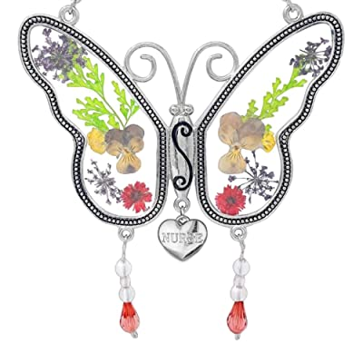 BANBERRY DESIGNS Nurse Charm Butterfly Sun Catcher - Pressed Dried Flower Wings with Beads and a Silver Heart Charm Engraved with Nurse - 4.25 Inches : Garden & Outdoor