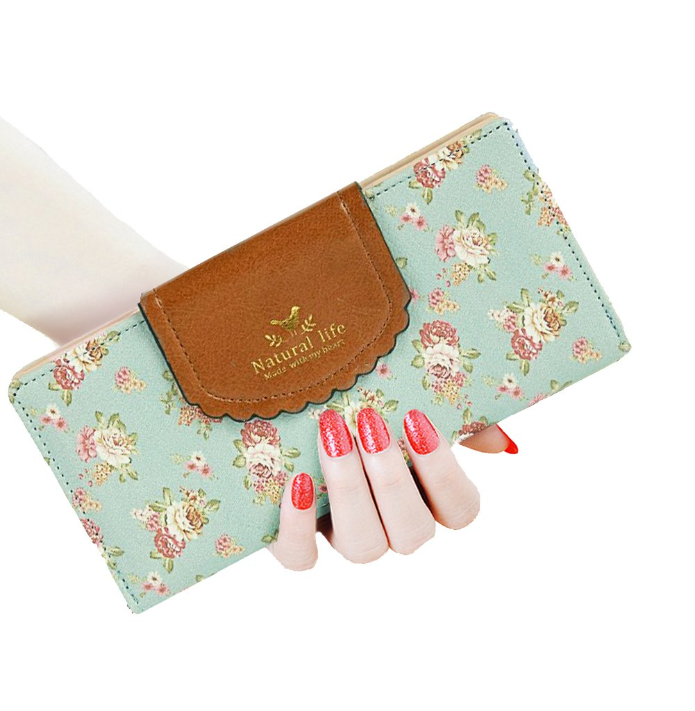 SeptCity Womens Wallet Cute Floral Soft Leather Clutch Gift for Her, 2071 (Blue)