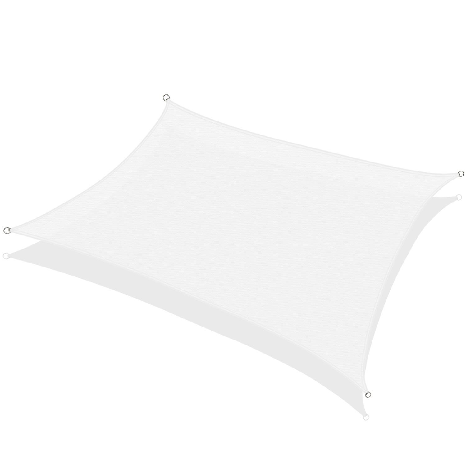 KHOMO GEAR Rectangular Sun Shade Sail 12 x 16 Ft UV Block Fabric – White