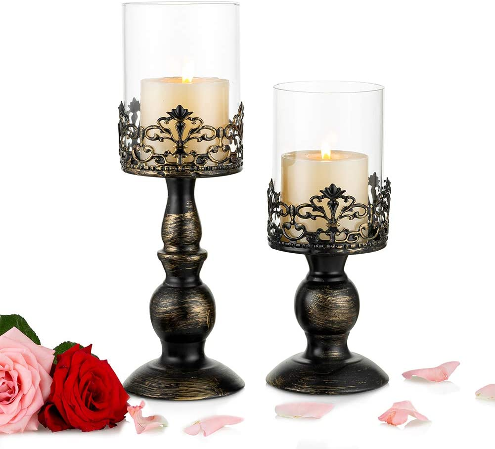 Nuptio Set of 2 Candle Holders for Pillar Candles with Glass Screen Cover, Antique Metal Hurricane Candlestick Perfect for Home Wedding Party Fireplace Dining Table Centrepiece Decoration (S+L)