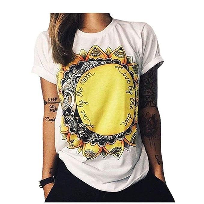 98968b0faa7a Amazon.com: Dreamstar Women's Sunflower Print Summer Short Sleeve Soft  Comfortable T Shirt Tops: Clothing