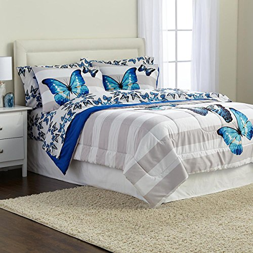 Microfiber Striped Comforter Set Girls Butterfly Bedding Full Size Comforter and Sham White Gray Blue