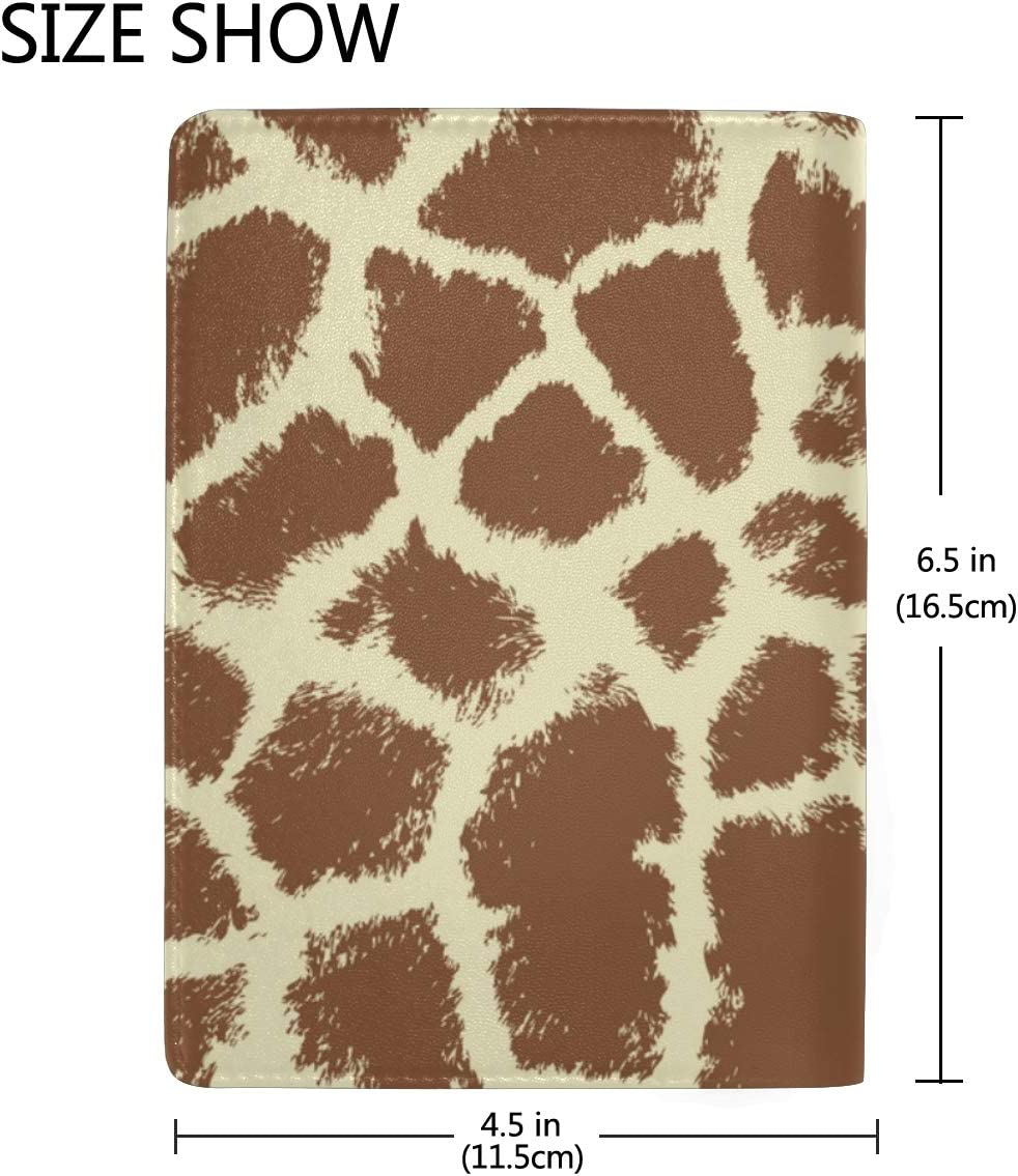 Giraffe Repeating Brown White Blocking Print Passport Holder Cover Case Travel Luggage Passport Wallet Card Holder Made With Leather For Men Women Kids Family