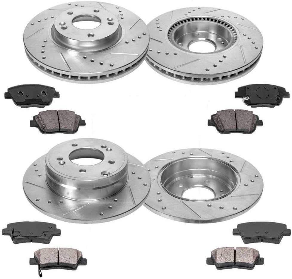 Prime Choice Auto Parts BRKPKG040144 Front and Rear Drilled Slotted Brake Rotors and Ceramic Pads