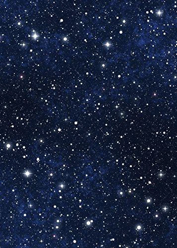 - Star Sky Backdrop - Blue Night Sky Astronomy Galaxy Universe Student School Shiny Star - Printed Fabric Photography Background (G1065, 5' Wide by 7' Tall)
