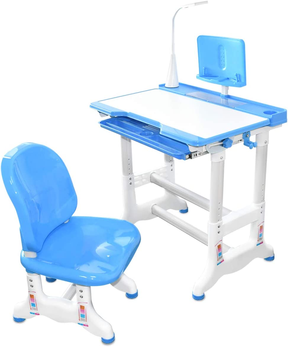 MONE Kids Desk and Chair Set,Height Adjustable Kids Table,Student Study Desk and Chair Set with Tilt Desktop, Bookstand, LED Light and Storage Drawer for Kids in 3-16 Years Old, Blue