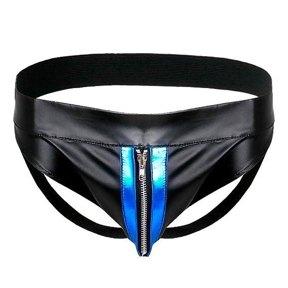 YiZYiF Tanga Hombre de Charol con Cremallera Bikini Calzoncillo Suspensorio Ropa Interior para Hombres Negro M